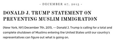 Заявление Трампа, размещенное на его сайте